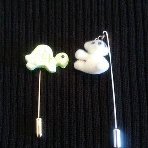 Polar Bear Stick Pin and Turtle Stick Pin - Vintag